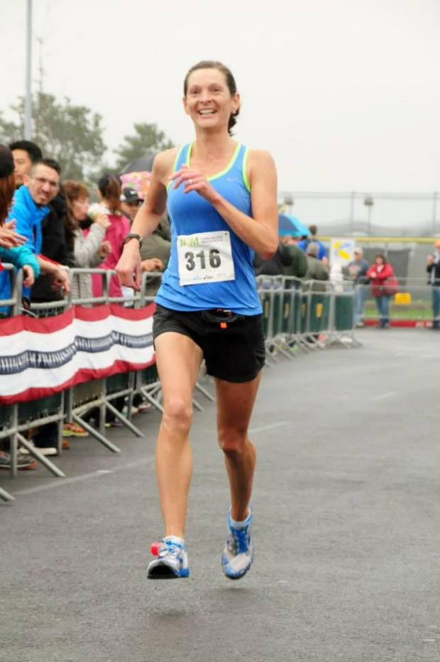 The finish-line joy of a near-perfect race at the Napa Valley Marathon.