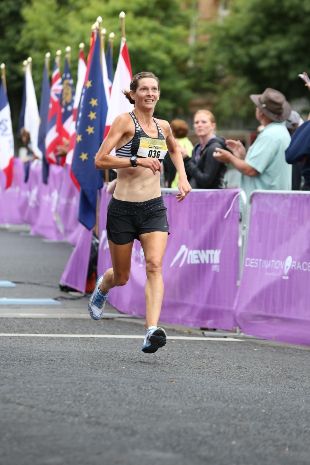Eyes fixed firmly on the clock at the finish line (Photo: Finisher Pix)