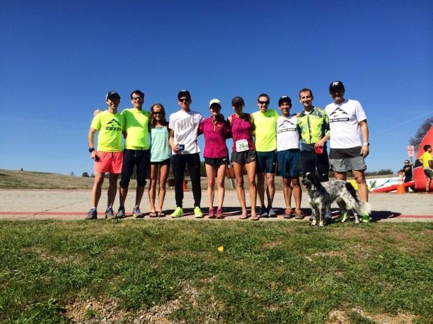 Nike Trail Team members at Way Too Cool 50k (Photo, left to right: Team Manager Pat Werhane, Patrick Smyth, Lindsay Tollefson, Tim Tollefson, Megan Roche, me, Ryan Bak, Alex Varner, David Roche, Jarrett Tong (marketing manager at Nike)